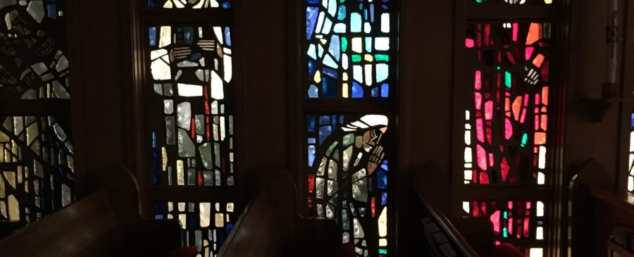 Stained glass in the chapel at Good Sam Church, Corvallis